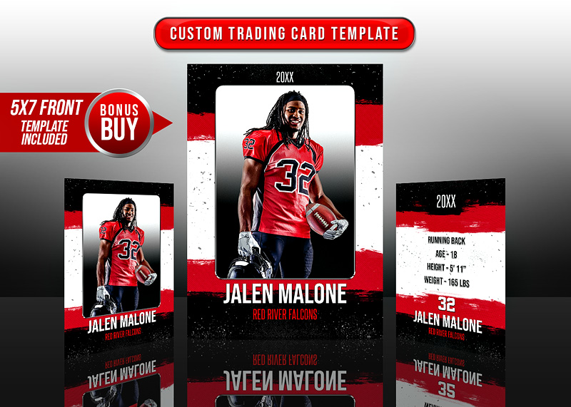 SPORTS TRADING CARDS AND 5X7 TEMPLATE - GRUNGE STROKES