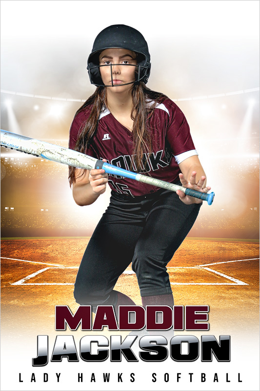 PLAYER BANNER PHOTO TEMPLATE - HI KEY SOFTBALL - CUSTOM PHOTOSHOP LAYERED SPORTS TEMPLATE