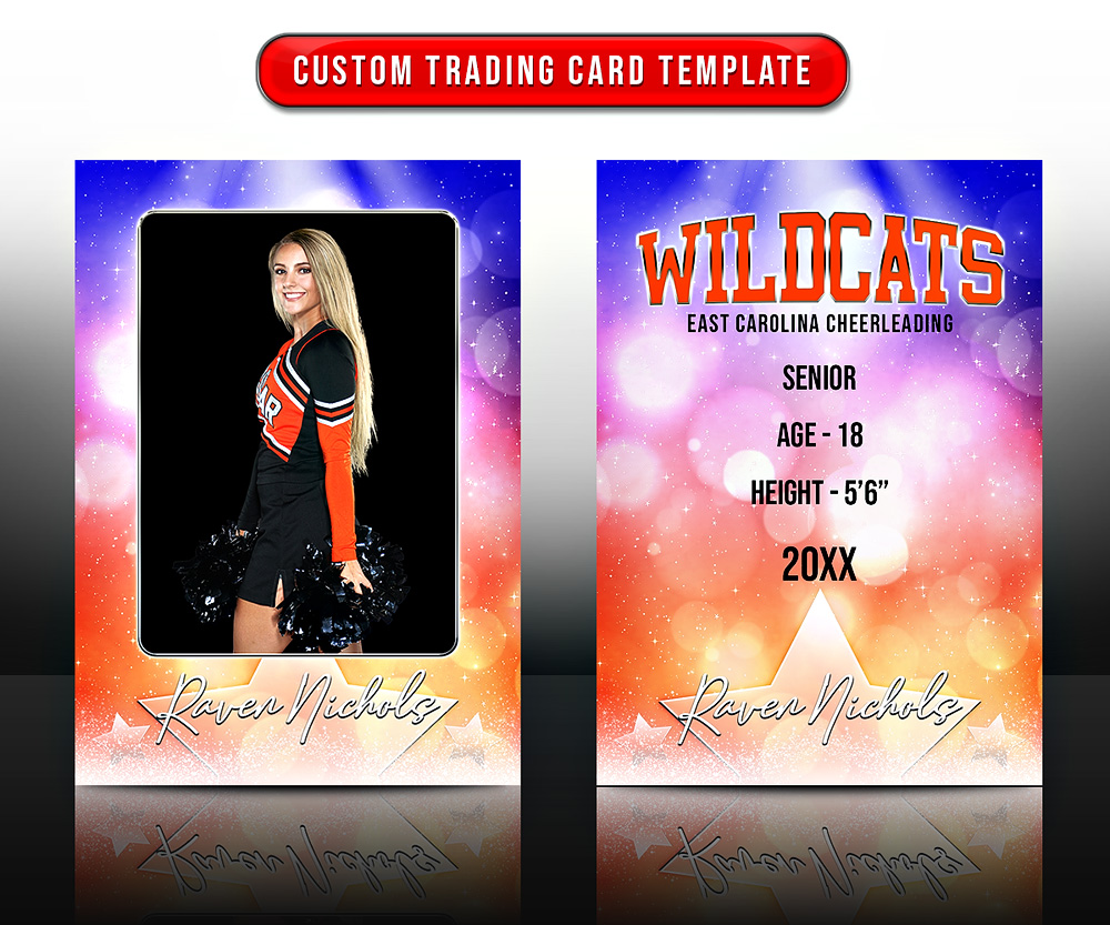 MULTI-SPORT TRADING CARDS AND 5X7 TEMPLATE - DREAMY BOKEH
