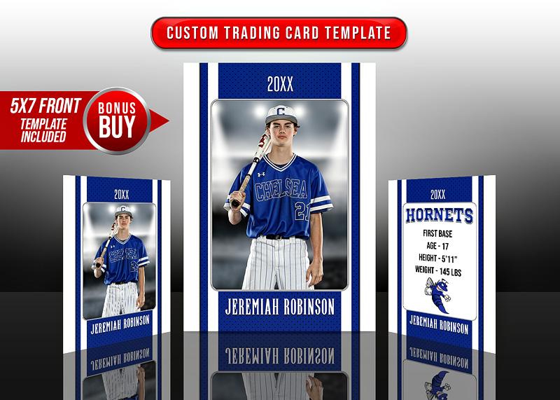 dbfe68da31e Multi-Sport Custom Trading Cards and 5x7 Template - Stripes