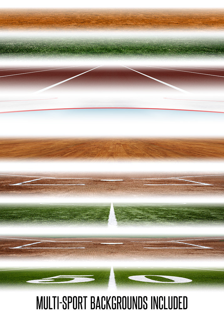 MULTI-SPORT PANORAMIC SPORTS BANNER TEMPLATE - SPORTS FADE - PHOTOSHOP LAYERED SPORTS TEMPLATE