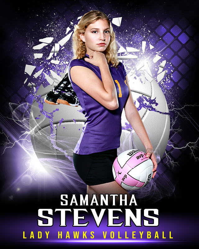 SPORTS POSTER PHOTO TEMPLATE - SHATTERED VOLLEYBALL - LAYERED PHOTOSHOP SPORTS TEMPLATE