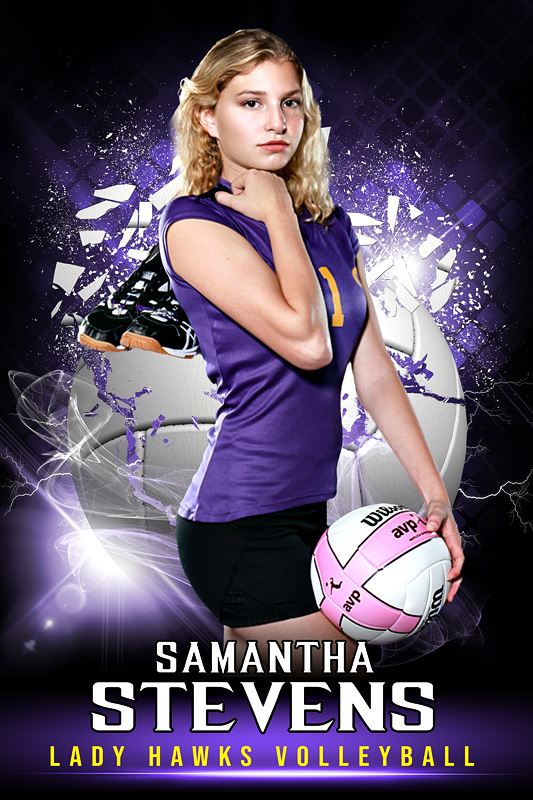 PLAYER BANNER PHOTO TEMPLATE - SHATTERED VOLLEYBALL