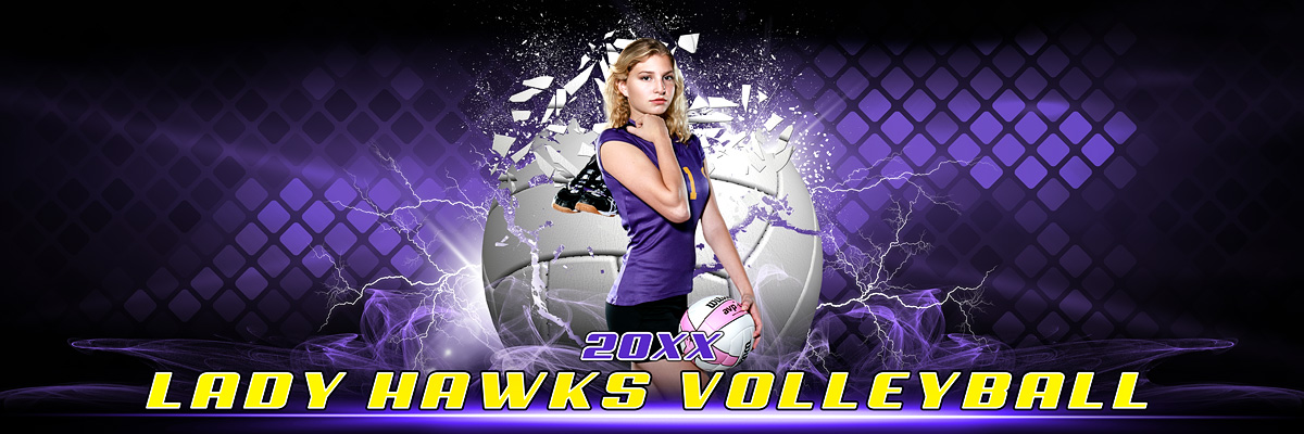 PANORAMIC SPORTS BANNER TEMPLATE - SHATTERED VOLLEYBALL