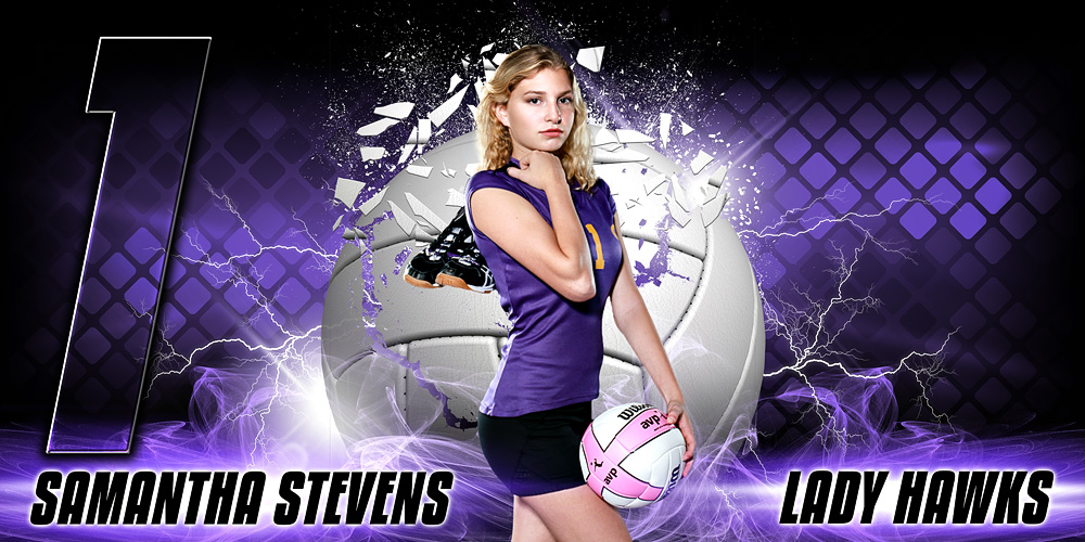 10X20 PHOTO TEMPLATE - SHATTERED VOLLEYBALL - LAYERED PHOTOSHOP SPORTS TEMPLATE