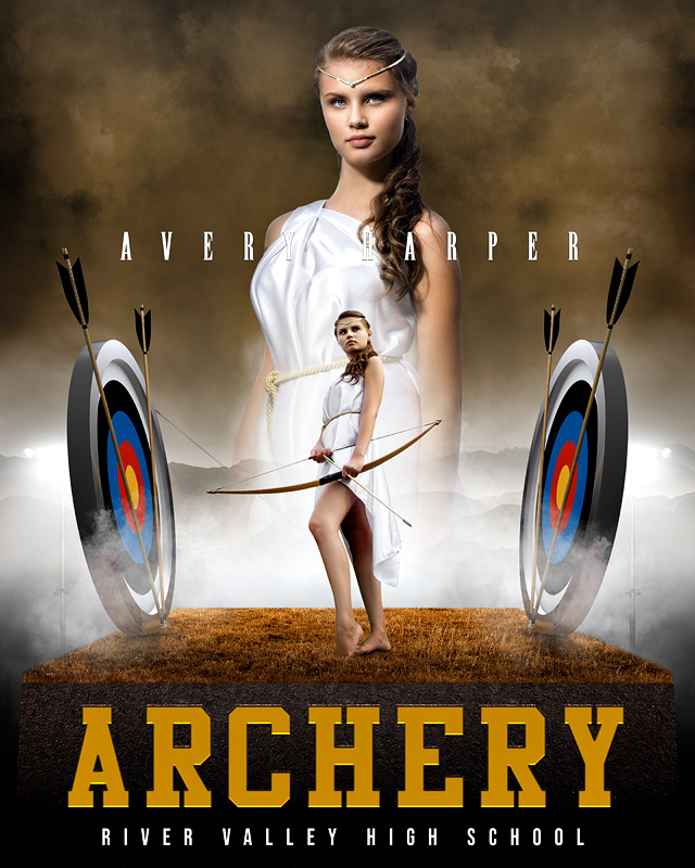 16x20 SPORTS POSTER PHOTO TEMPLATE - ARCHERY UPRISE - CUSTOM PHOTOSHOP LAYERED SPORTS TEMPLATE