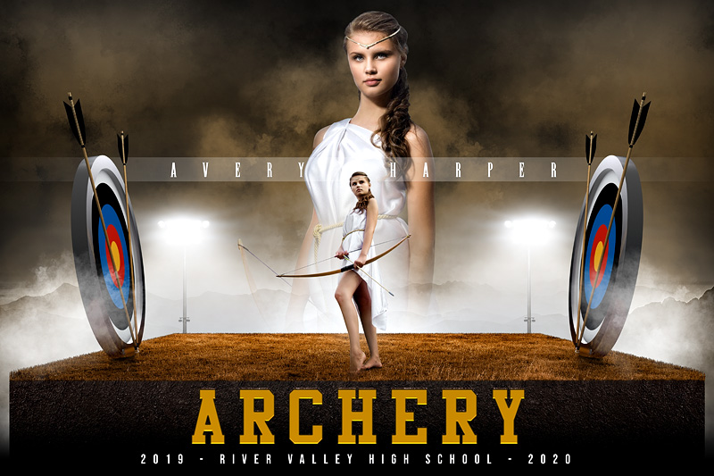 PLAYER & TEAM BANNER PHOTO TEMPLATE - ARCHERY UPRISE - CUSTOM PHOTOSHOP LAYERED SPORTS TEMPLATE