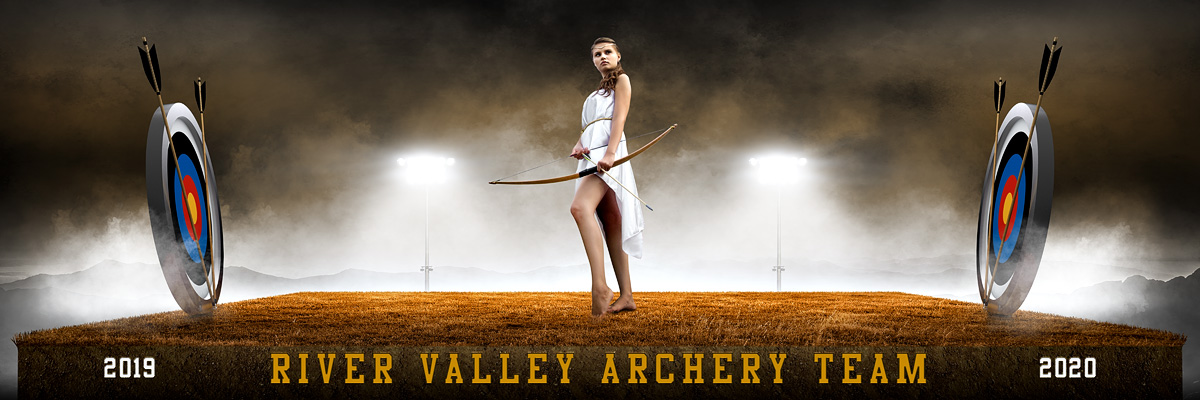 PANORAMIC SPORTS BANNER TEMPLATE - ARCHERY UPRISE - CUSTOM LAYERED PHOTOSHOP SPORTS TEMPLATE