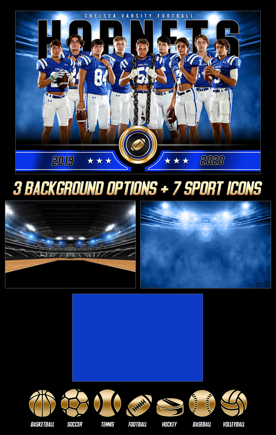 MULTI-SPORT BANNER PHOTO TEMPLATE - GOLD MEDAL - CUSTOM PHOTOSHOP LAYERED SPORTS TEMPLATE