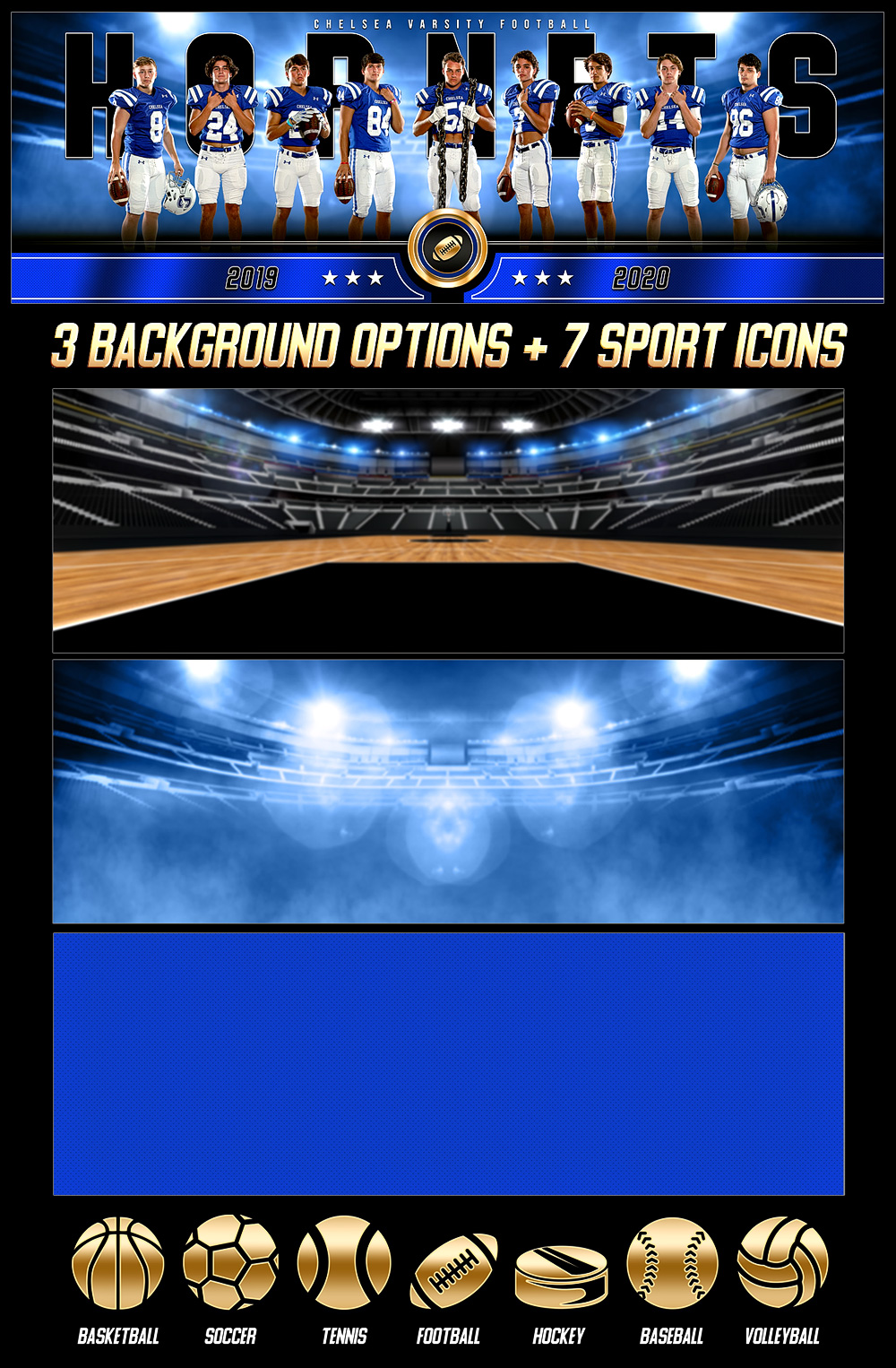 MULTI-SPORT PANORAMIC SPORTS BANNER TEMPLATE - GOLD MEDAL - PHOTOSHOP LAYERED SPORTS TEMPLATE