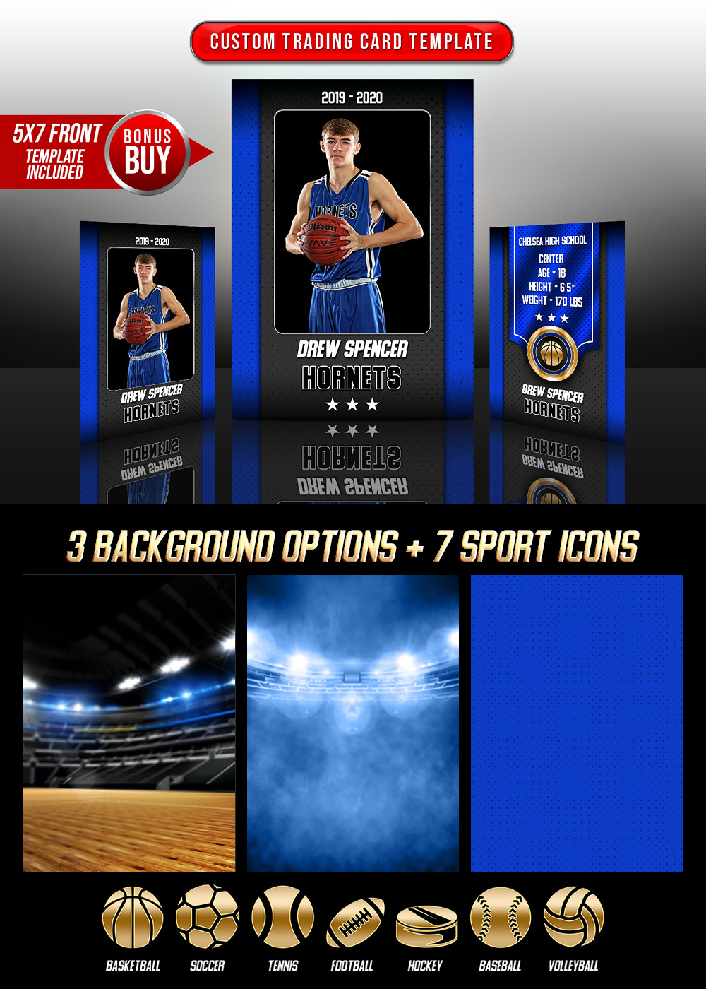 MULTI-SPORT TRADING CARDS AND 5X7 TEMPLATE - GOLD MEDAL