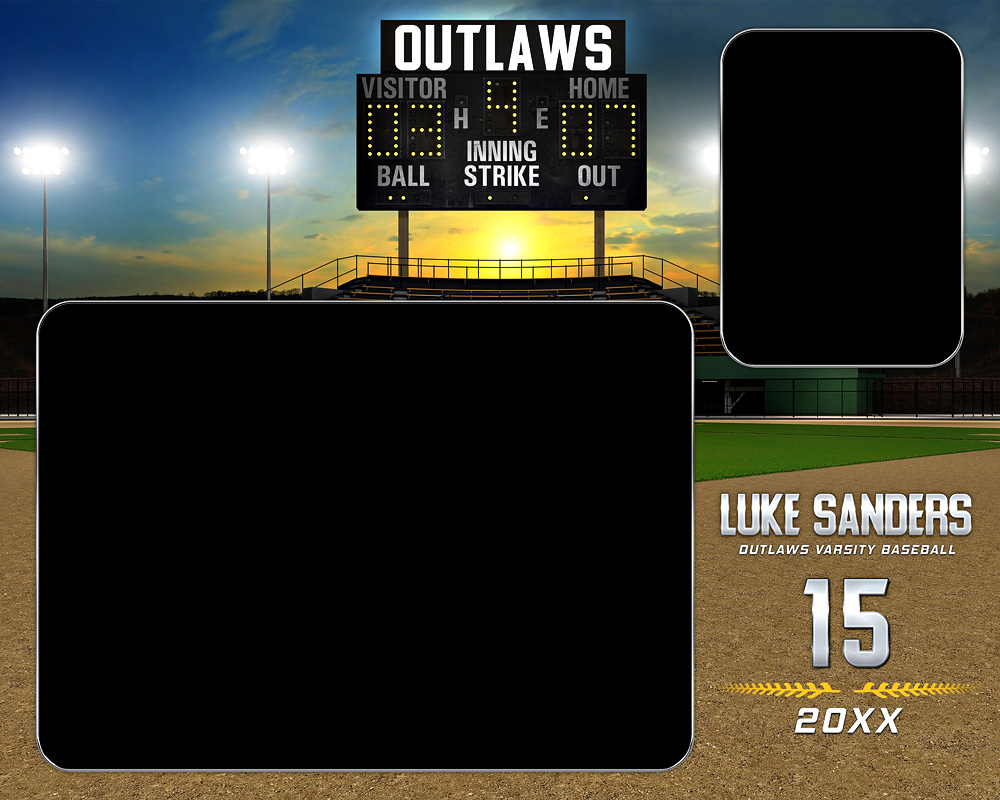 MEMORY MATE - HORIZONTAL - BASEBALL SUNSET - CUSTOM PHOTOSHOP LAYERED MEMORY MATE PHOTO TEMPLATE