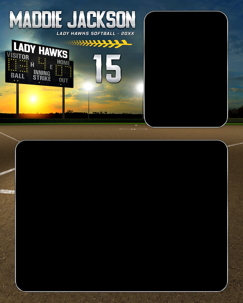 MEMORY MATE - VERTICAL - BASEBALL SUNSET - CUSTOM PHOTOSHOP LAYERED MEMORY MATE PHOTO TEMPLATE