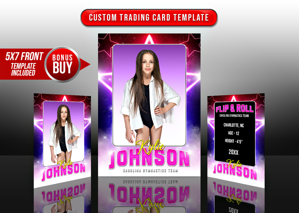 MULTI-SPORT TRADING CARDS AND 5X7 TEMPLATE - STAR GLAMOUR