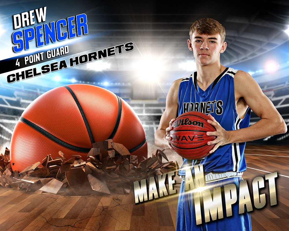 SPORTS POSTER PHOTO TEMPLATE - BASKETBALL IMPACT - LAYERED PHOTOSHOP SPORTS TEMPLATE