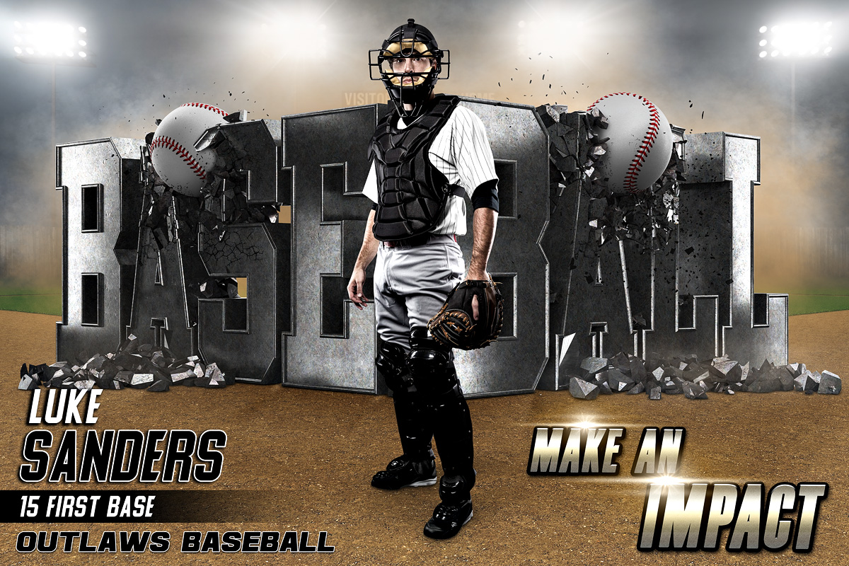 PLAYER & TEAM BANNER PHOTO TEMPLATE - BASEBALL IMPACT