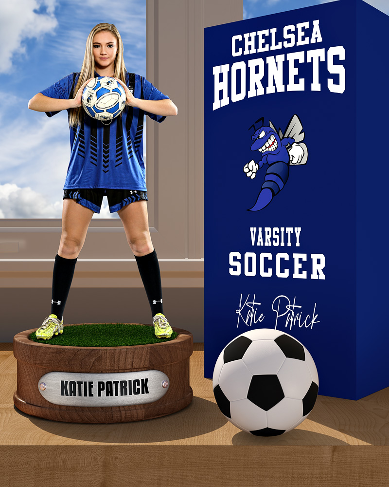 SPORTS POSTER PHOTO TEMPLATE - SOCCER DISPLAY - LAYERED PHOTOSHOP SPORTS TEMPLATE