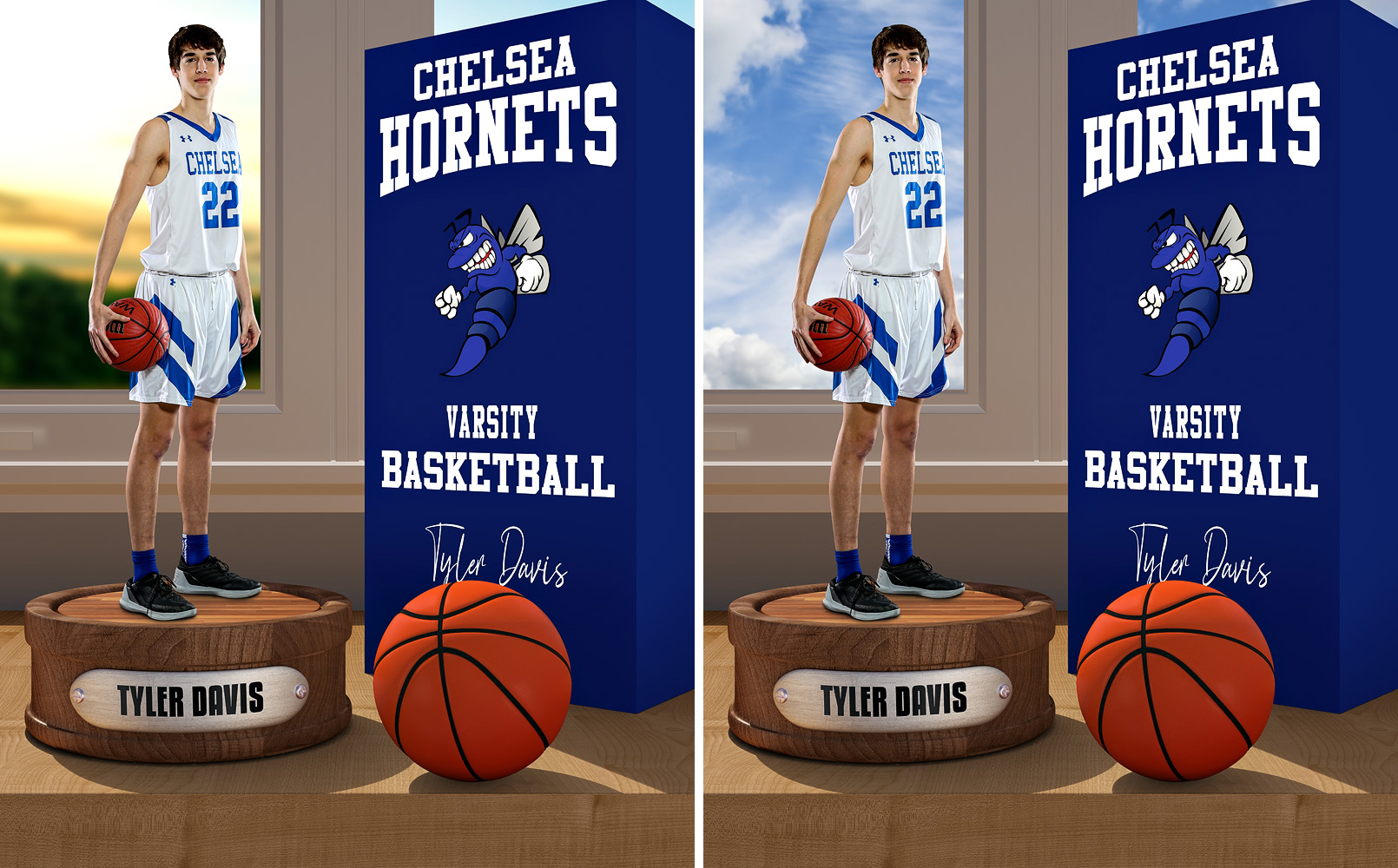 SPORTS POSTER PHOTO TEMPLATE - BASKETBALL DISPLAY - LAYERED PHOTOSHOP SPORTS TEMPLATE