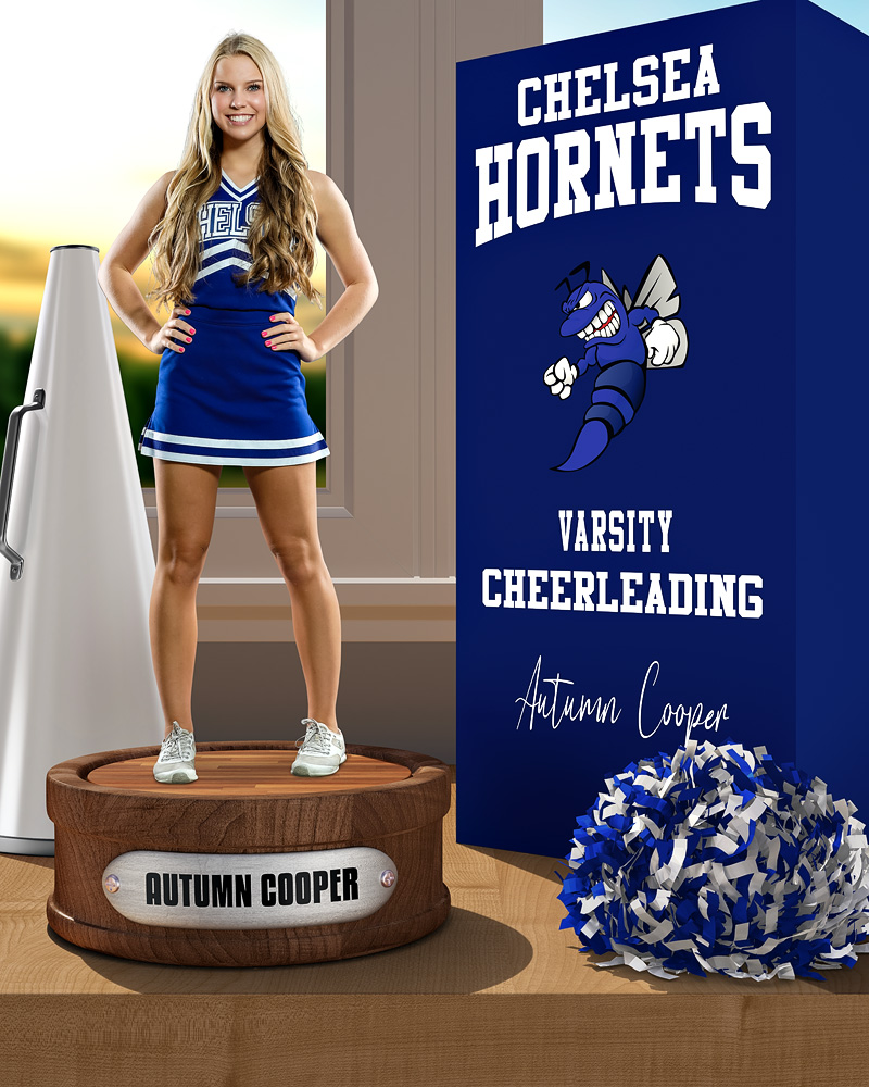 SPORTS POSTER PHOTO TEMPLATE - CHEERLEADING DISPLAY - LAYERED PHOTOSHOP SPORTS TEMPLATE