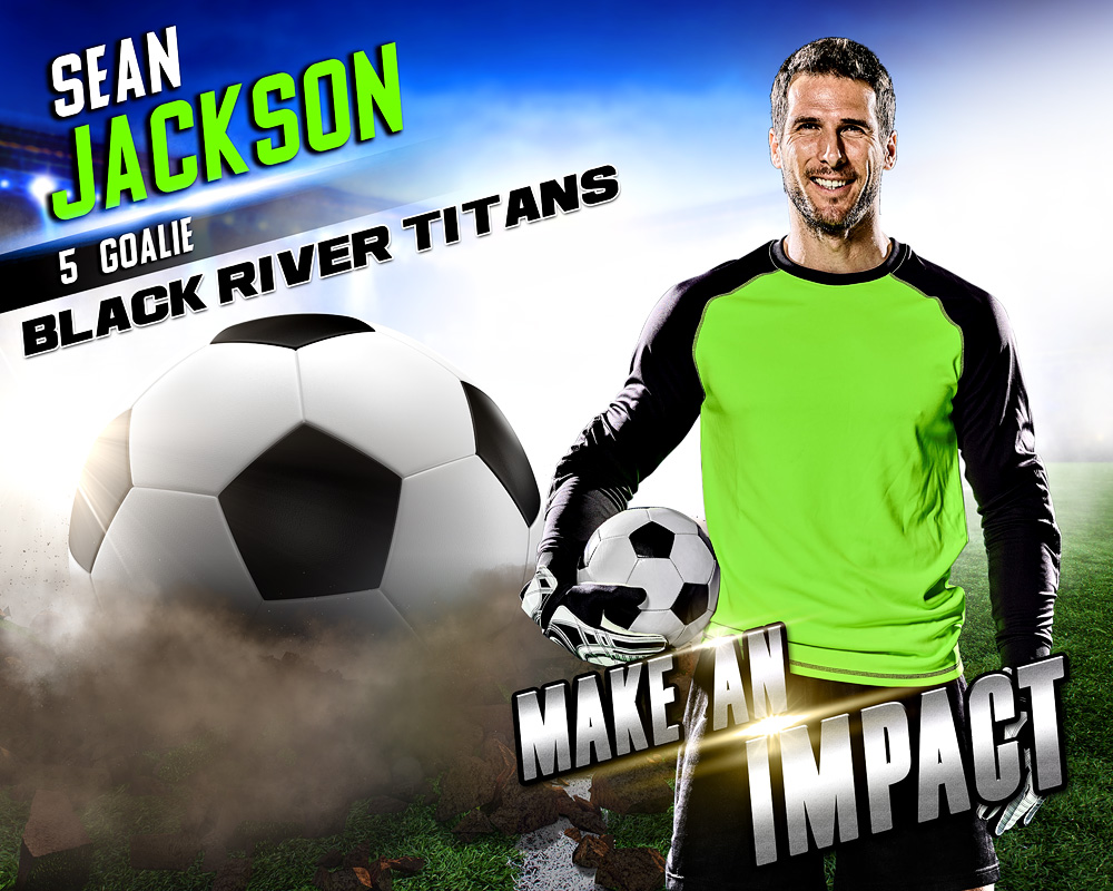 SPORTS POSTER PHOTO TEMPLATE - SOCCER IMPACT - LAYERED PHOTOSHOP SPORTS TEMPLATE