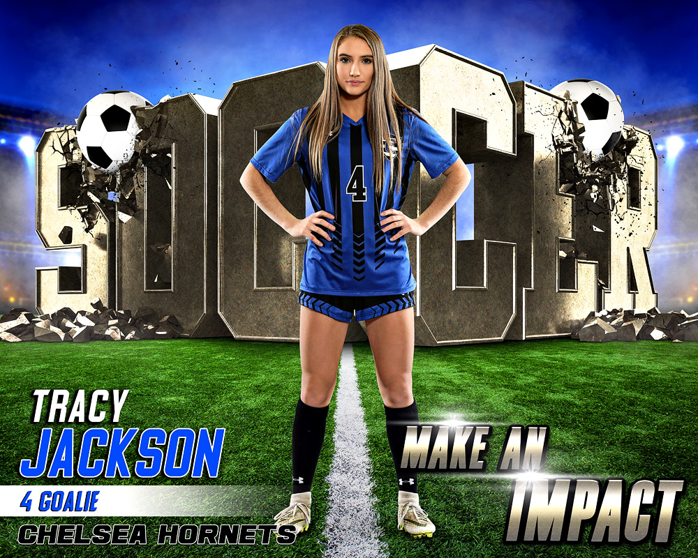 SPORTS POSTER PHOTO TEMPLATE - SOCCER IMPACT II - LAYERED PHOTOSHOP SPORTS TEMPLATE