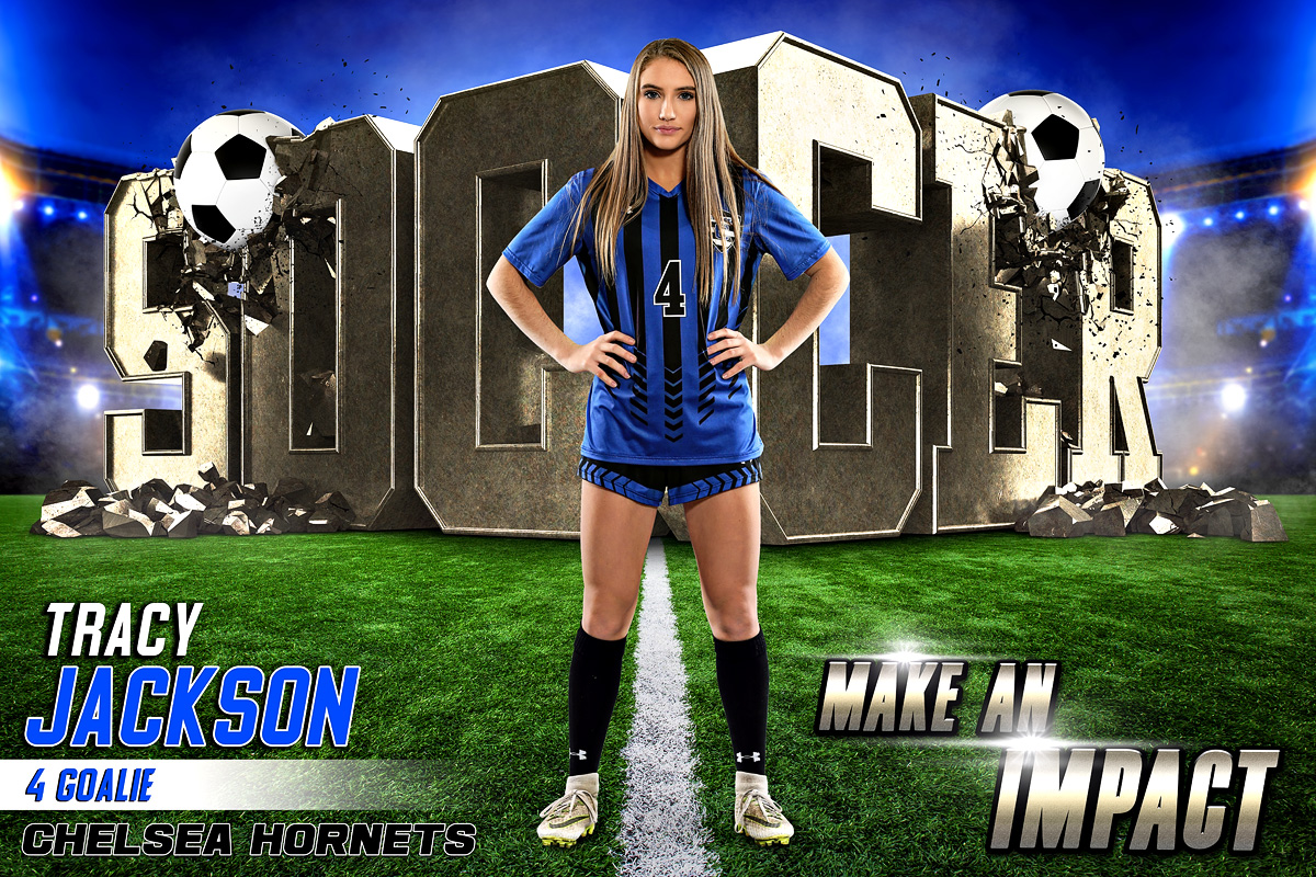 PLAYER & TEAM BANNER PHOTO TEMPLATE - SOCCER IMPACT II