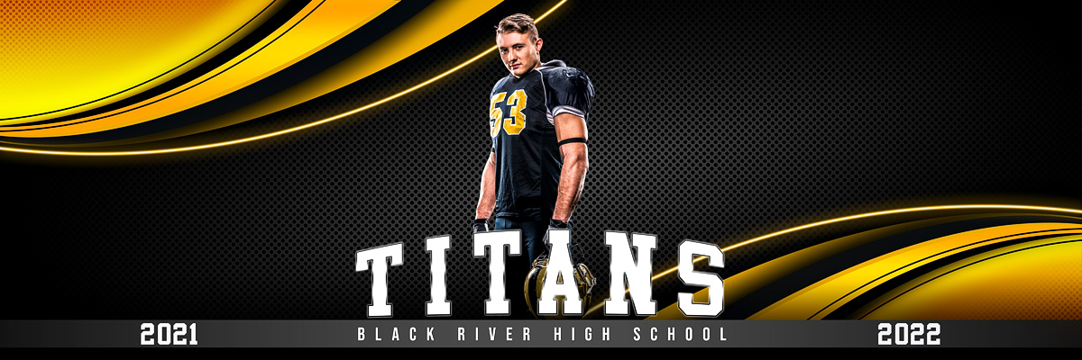 MULTI-SPORT PANORAMIC SPORTS BANNER TEMPLATE - CURVES - PHOTOSHOP LAYERED SPORTS TEMPLATE