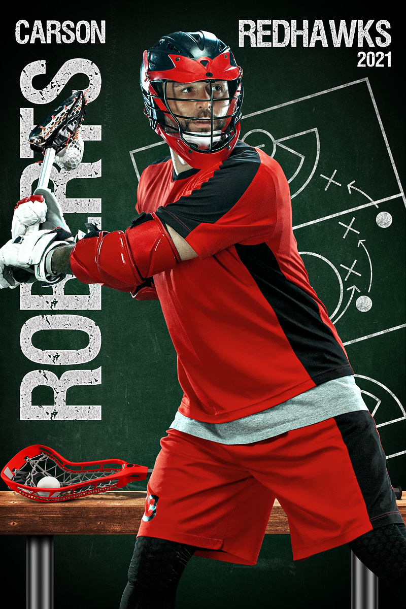LACROSSE BANNER PHOTO TEMPLATE - LACROSSE CHALK - CUSTOM PHOTOSHOP LAYERED SPORTS TEMPLATE