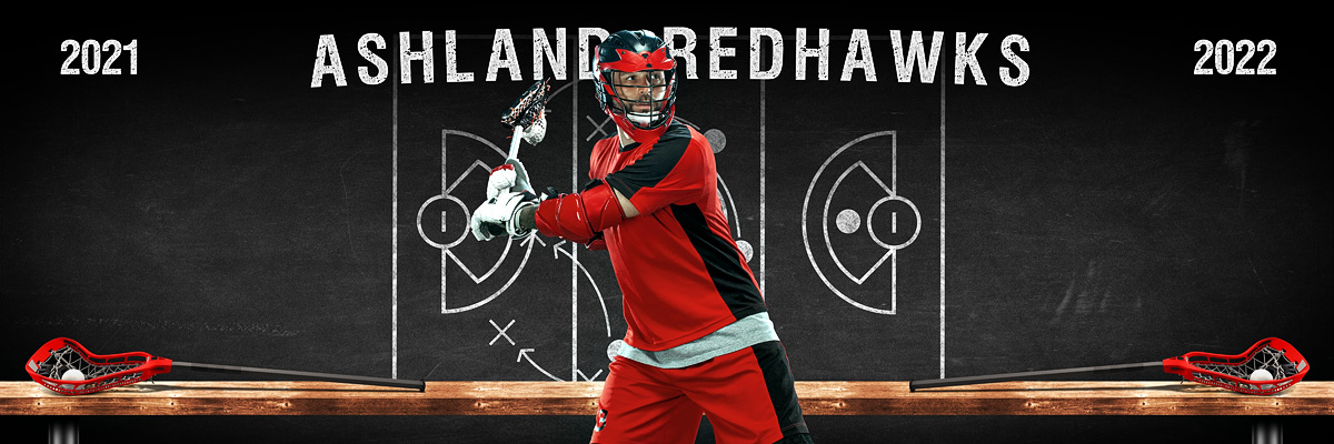 LACROSSE PANORAMIC SPORTS BANNER TEMPLATE - LACROSSE CHALK - CUSTOM LAYERED PHOTOSHOP SPORTS TEMPLATE