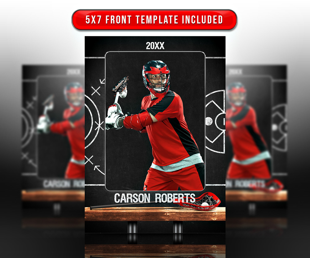 SPORTS TRADING CARDS AND 5X7 TEMPLATE - LACROSSE CHALK