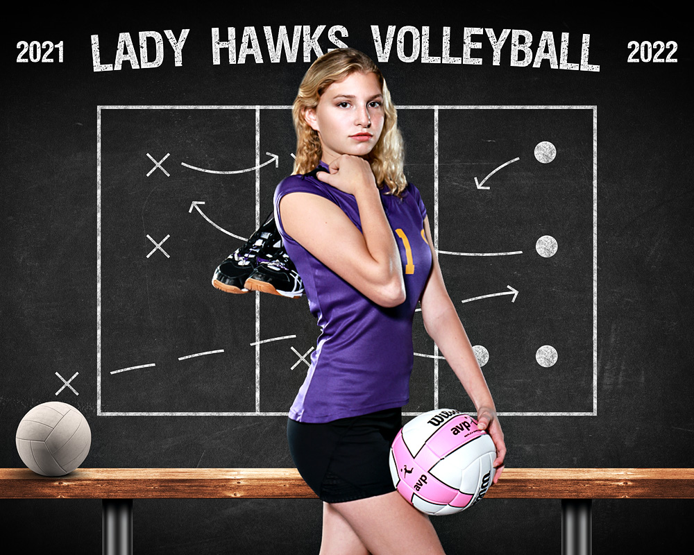 16x20 SPORT POSTER PHOTO TEMPLATE - VOLLEYBALL CHALK - CUSTOM PHOTOSHOP LAYERED SPORTS TEMPLATE