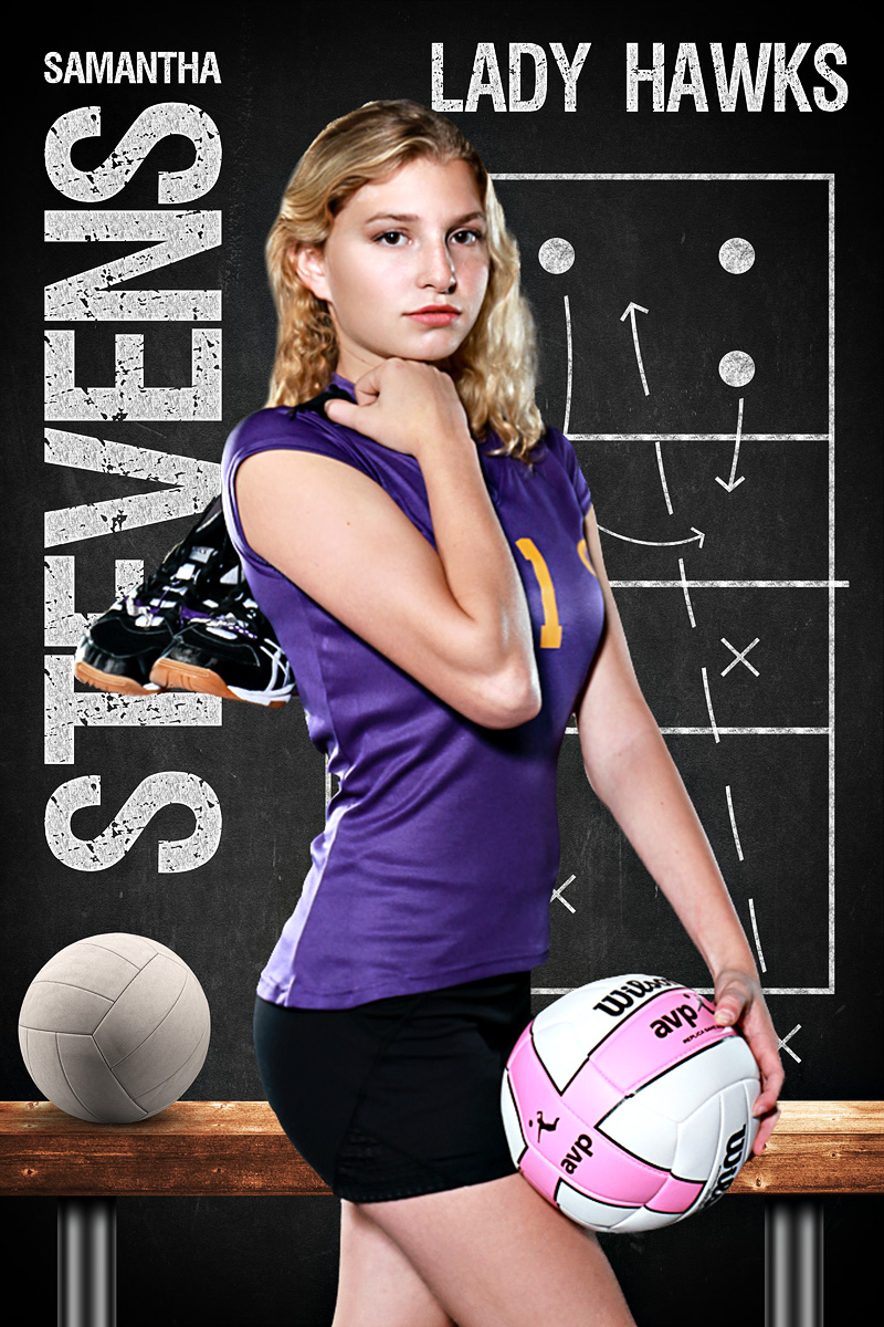 VOLLEYBALL BANNER PHOTO TEMPLATE - VOLLEYBALL CHALK - CUSTOM PHOTOSHOP LAYERED SPORTS TEMPLATE
