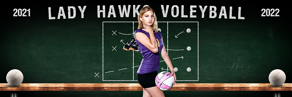 VOLLEYBALL PANORAMIC SPORTS BANNER TEMPLATE - VOLLEYBALL CHALK - CUSTOM LAYERED PHOTOSHOP SPORTS TEMPLATE