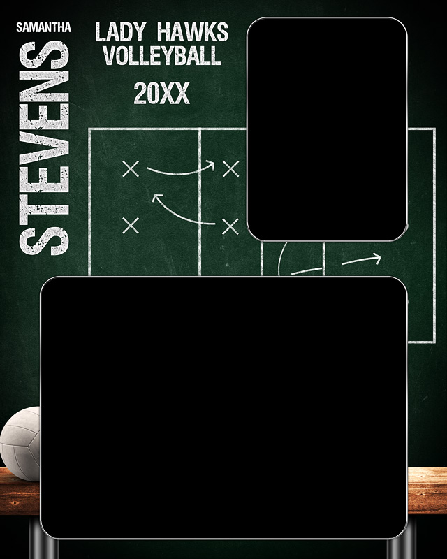 MEMORY MATE - VERTICAL - VOLLEYBALL CHALK - CUSTOM PHOTOSHOP LAYERED MEMORY MATE TEMPLATE