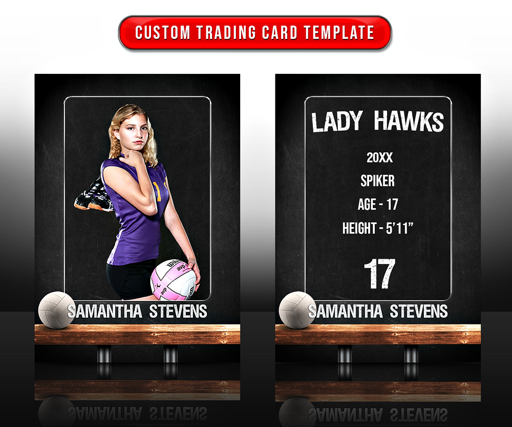 SPORTS TRADING CARDS AND 5X7 TEMPLATE - VOLLEYBALL CHALK
