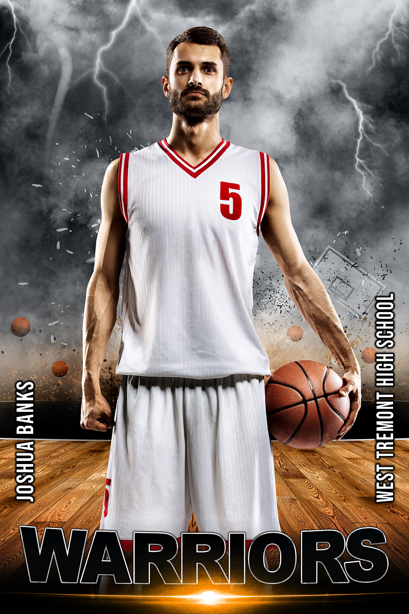 PLAYER BANNER PHOTO TEMPLATE -  BASKETBALL DESTRUCTION - PHOTOSHOP LAYERED SPORTS TEMPLATE