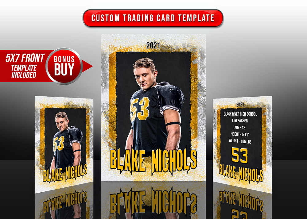 MULTI-SPORT TRADING CARDS AND 5X7 TEMPLATE - GRUNGE