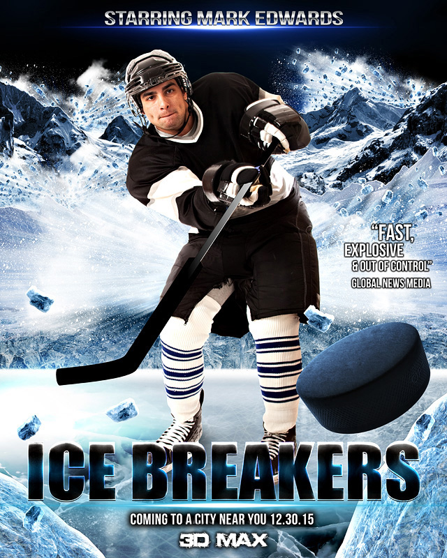 sports poster photo template for hockey ice breakers