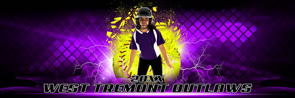 PANORAMIC SPORTS BANNER TEMPLATE - SHATTERED SOFTBALL