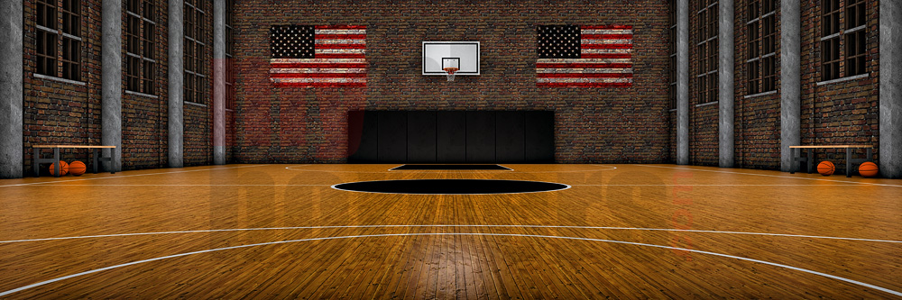 DIGITAL BACKGROUND - OLD SCHOOL BASKETBALL - PANORAMIC