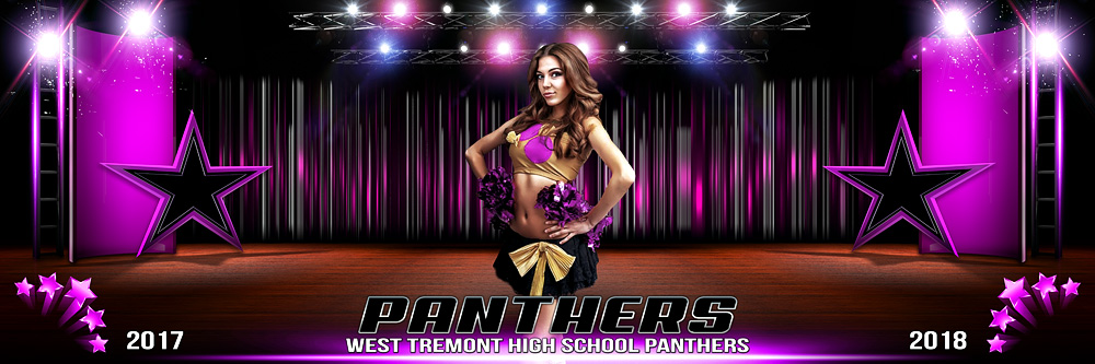 PANORAMIC SPORTS BANNER TEMPLATE - STAGE PERFORMANCE - DANCE AND CHEERLEADING TEMPLATE