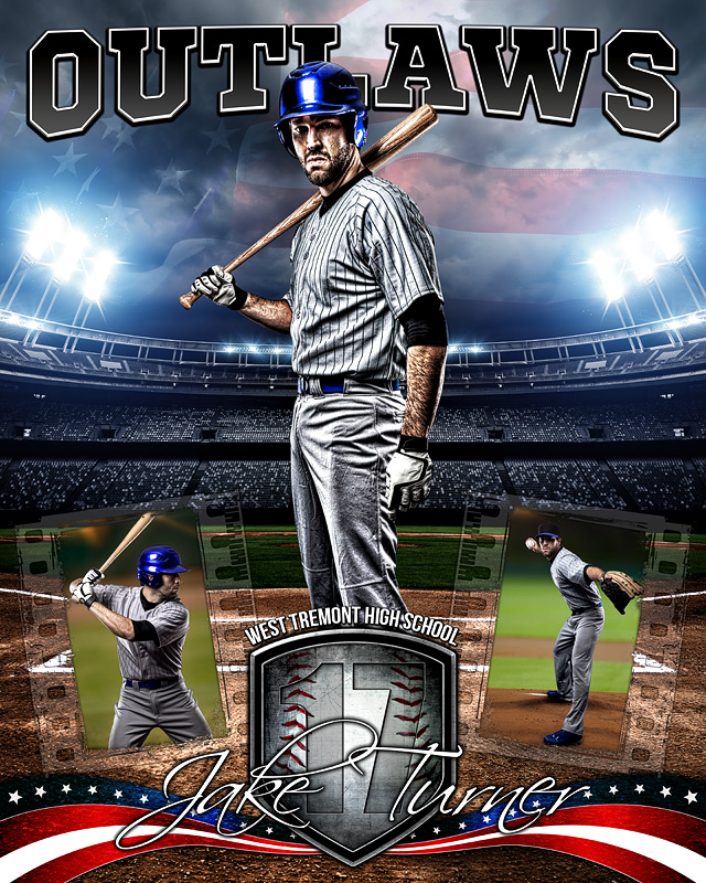 american baseball photo collage layered photoshop sports template