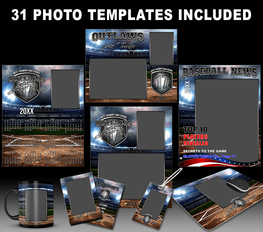AMERICAN BASEBALL COLLECTION - PHOTOSHOP SPORTS TEMPLATE COLLECTION