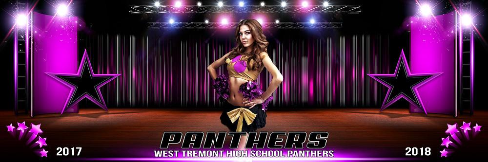 Panoramic cheerleading and dance Photoshop template