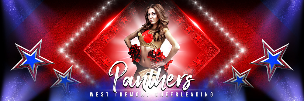 Panoramic Team Banner Photoshop Sports Template - Stars and Glitter
