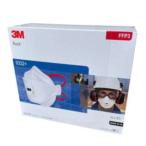 3M Aura 9332+ FFP3 Valved Respirator Box of 10 GT-5000-7313-2