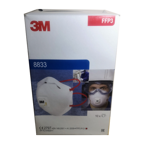 3M 8833 Face Mask Respirator with FFP3 Protection - Box of 10