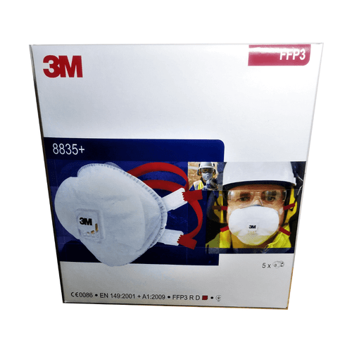 3M 8835+ FFP3 R D Valved Respirator Face Mask (Box of 5)