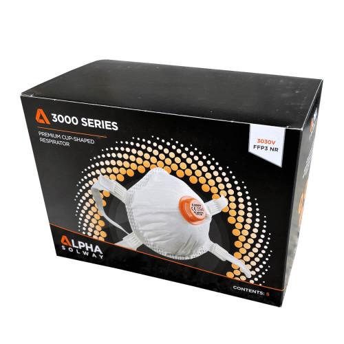 Alpha Solway 3030V Valved FFP3 Face Mask Respirator (Box of Five)
