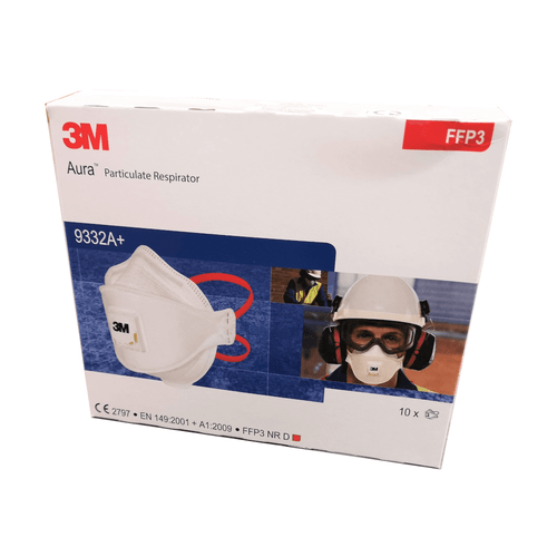 3M Aura 9332A+ FFP3 Valved Respirator Box of 10 XA-0100-1786-2